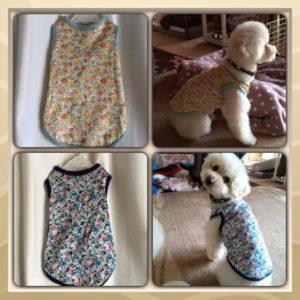 LIBERTYプリントで作った愛犬の服。