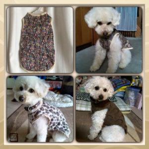 LIBERTYプリントやフリース素材・手編みで作った愛犬の服。