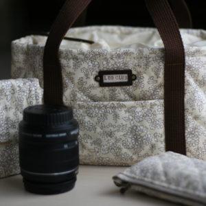 LIBERTY の帆布キルティング生地で作ったカメラバッグ一式。レンズケースや充電器入れも。 (2015年5月11日の日記参照)