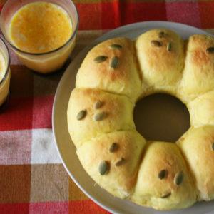 かぼちゃプリンとかぼちゃちぎりパン。