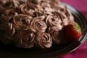 チョコクリームのローズケーキ。(習作)