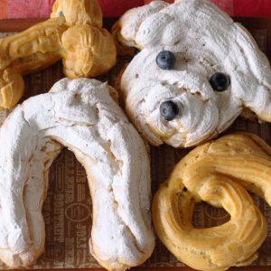 愛犬の誕生日のお祝いは振り向きポーズのシュークリーム。