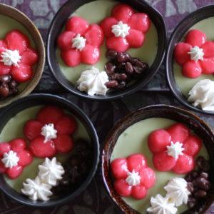 梅の花の抹茶プリン♡