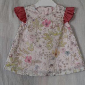 LIBERTYプリントで作ったベビー服のチュニック。